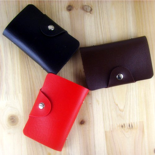 24 Cards Leather Credit ID Business Card Holder Case Pocket Wallet H-G1964(China (Mainland))