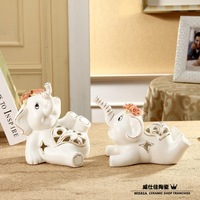 Lovers elephant   wedding gift  White porcelain  housewarming gift