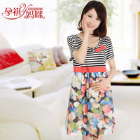 Maternity clothing summer fashion one-piece dress 100% cotton maternity top maternity chiffon skirt