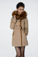 outerwear coats 2013 women's casual slim medium-long semi finished 8688 down coat outdoor jacket