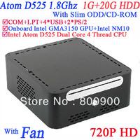 Windows linux small factor pc with Slim ODD CDROM INTEL ATOM D525 1.8Ghz COM LPT Intel GMA3150 graphics MINI PCIE 1G RAM 20G HDD
