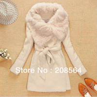 Fashion Women Faux Fur Trench Jacket Beige Warm Wool Cloak Outcoat Mid-Long Style 1531