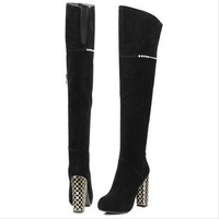 2013 new fashion sexy over-knee genuine leather high heel winter boots with zip thick square heel women shoes free shipping