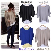 HK Free Shipping! 2013 Fashion Casual Womens Loose Batwing Sleeve 2 in 1 Style T shirt Tops Blouse + Tank Vest S/M/L/XXL Black