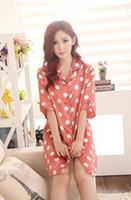 J002 Summer with short sleeves, emulation silk nightgown sexy temptation, lovely cartoon loungewear, costumes women Pyjamas