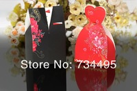Free shipping!100pcs black Bride and red Groom Wedding Favor Boxes gift box candy box wedding box.