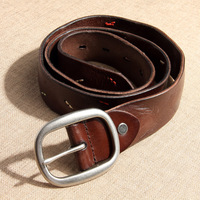 2013 personality retro vintage embroidery hairline finishing first layer of cowhide belt strap