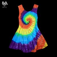Reggae hippie soft color block hallucinogenic sleeveless spaghetti strap vest handmade tie-dyeing one-piece dress