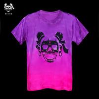Handmade skull tie-dyeing gradient reggae culpable tie-dyeing t-shirt