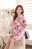 J004 Summer emulation silk sexy long-sleeved, lady sleep dress shirts, han edition nightgown, household to take
