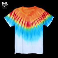 Handmade tie-dyeing hippie gradient reggae tie-dyeing t-shirt