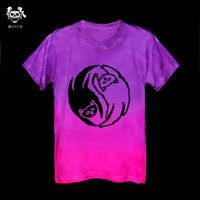 Handmade tie-dyeing pentacle gradient reggae culpable men and women t-shirt