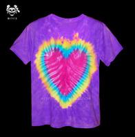Handmade tie-dyeing reggae hallucinogenic hippie gradient double faced heart of love tie-dyeing t-shirt