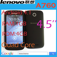 "Original Lenovo A760 Qualcomm quad core mobile phone 4.5"" 854*480 screen 1GB RAM 4GB Android 4.1 5.0mp GPS Russia multi language"