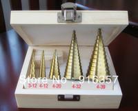 5 HSS Spiral Flute Step Drill Bit Titanium Coated Hole Cut Tool Set 3-12/4-12/4-20/4-32/4-39mm Triangle Handle metric measures