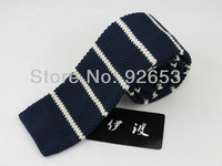 Men's tie/navy/white horizontal stripes/British style restoring ancient ways knit tie, 5.5 CM tie, free shipping
