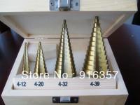 Free Shipping --  4pcs/set HSS Steel Step Drill Bit Titanium Coated Hole Cut Tool Set