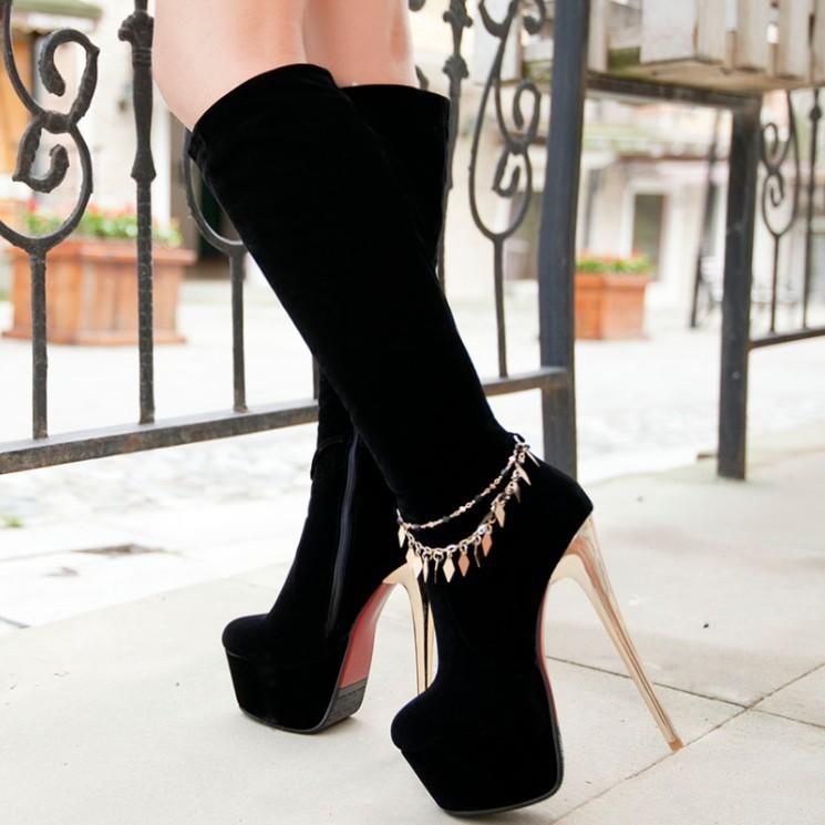 Free Shipping 2013 autumn and winter high heels designer shoes OL Gaotong boots red black Korean(China (Mainland))