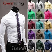 Hot Fashion New Brand Casual Turndown Collar Botton Long Sleeve  Cotton Blend Dress Shirts for Men Free ShippingFree Shipping
