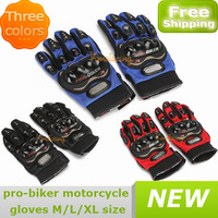New A pair of Outdoor Protective Sport Motorbike Gloves Motocross Pro-Biker Motorcycle Racing Glove Blue/Red/Black M/L/XL