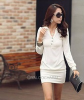 Autumn Fashion Korean Simple Womens Solid Mini Dress Long Sleeve Black White Slim Dress 75815-75822