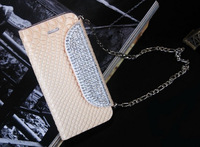Swarovski Rhinestone Magnetic Flip Wallet Chain Crocodile Leather Michael Cases Cover For Samsung Galaxy S3 I9300 S4 i9500 Bags