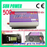 Free shipping SUN-500G-LCD ,chepest 500w solar power on grid inverter , DC10.8V-30V/22V~60V, AC 110v/220v , MPPT,LCD display