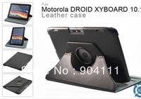 "360 Degree Rotary PU Leather Case Stand Cover For Motorola Xoom 2 10.1"" Tablet PC, Free Shipping"