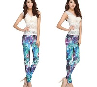 Blue Sexy Temperament Personality Slim Digital Symphony Printing Leggings High Elasticity Simple Fashion Pants Free Shipping