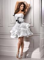 Princess Sweetheart Neck Mini Lace Up Organza Wedding Dress With Sash  HWGJWD38