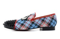 Free shipping 2013 latest leather shoes, Blue plaid Embroidery sneakers for men, fashion flats shoe,0905 EUR size 39-46