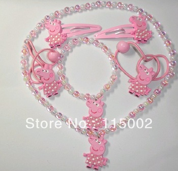 Free Shipping Children Character Kids Headwear Peppa Pig Necklace + bracelet + Hairclips + Hairties Sets #2