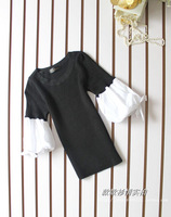 O-neck thread knitted patchwork cotton cloth lacing bow cuff faux two piece sweater
