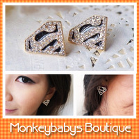 2013 Fashion Stud Earrings Superman Designer Rhinestone Earrings Women Men Jewelry Designer New earrings #JJ028