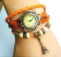 Royal vintage punk bracelet watch knitted multi-layer genuine leather eiffel tower  women's watch