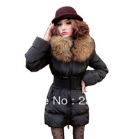 Free Shipping 2014 WIinter  Large Fur Collar Female Luxury Medium-Long Thickening Down Outerwear Coat Female Winter Down Jacket