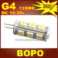 Free shipping BOPO LED G4 13Pcs SMD5050 tower AC / DC 12V or DC10~30V  crystal lamp Marine Camper Car Bulb Lamp