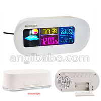 Free shipping RF Wireless Weather Station Alarm Clock Indoor/Outdoor Thermometer with Color Backlight
