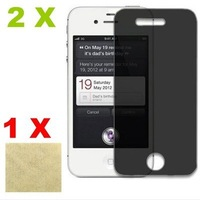 2X Privacy Anti-Spy Screen Protector Skin Cover film Guard for Apple iPhone 4 4G 4S free shipping