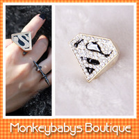 2013 Fashion Superman rings Big rhinestone decoration Rings women men finger rings Designer jewelry #JJ029