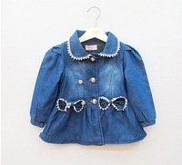In the autumn of 2013 girls lace bowknot jean jacket--AS0109