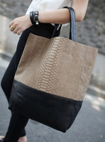 2013 women's handbag fashion brief patchwork bucket big bags shoulder bag picture women's bag