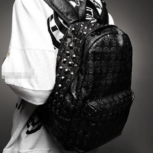 2014 men's skull  school  rivet vintage female bags