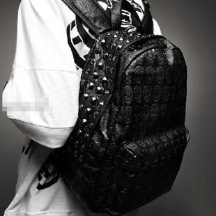 2015 men's skull  school  rivet vintage female backpack bags
