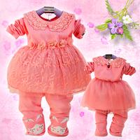 2013 spring clothing set children girls 1 - 2 - 3 toddler's baby wear children spring and autumn set infant