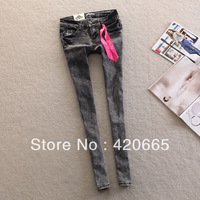 2013 Autumn and winter women Brand jeans elastic jeans black gray pencil pants Free shipping
