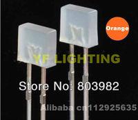 Diffused square 2x5x5mm orange led 600-610nm dip led 2.0-2.5V 2-legs led bulb(CE&Rosh)