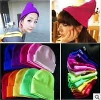 New Arrival Autumn Winter Men Women Girl Boy Solid Yarn Knitted Hats Sleeve Cap Skullies & Beanies,20 Colors