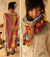 2013 spring tassel lengthen thin sweet color block decoration scarf