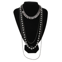 Free shipping  fashion all-match  pearl gem multi-layer necklace long neckless